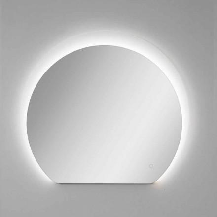 Moderne wandspiegel met gezandstraald detail en LED Made in Italy - Rialto