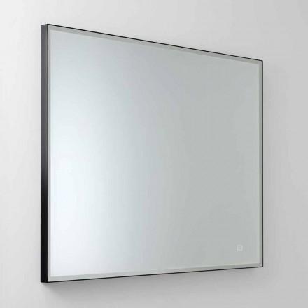 Vierkante wandspiegel met LED in satijnglas Made in Italy - Mirro