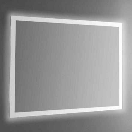 Wandspiegel met achtergrondverlichting en gezandstraald frame Made in Italy - Edigio