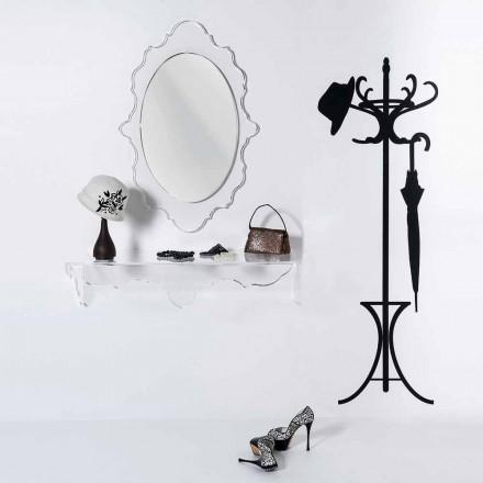 ontwerp transparante wand spiegel Joy's, gemaakt in Italië