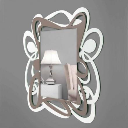Grote moderne design witte en beige decoratieve wandspiegel - Bocchio