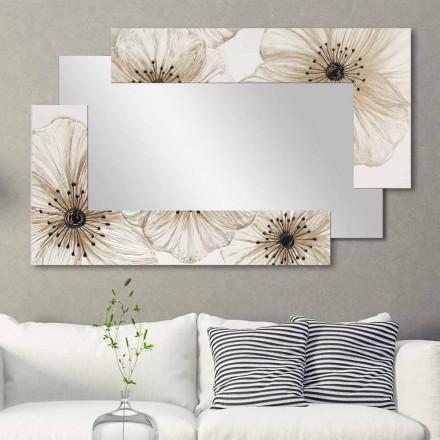 Wandspiegel met dubbele elle made in Italy Gezandstraald ontwerp