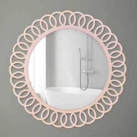 Grote wandspiegel van decoratief en modern design in roze hout - kroon
