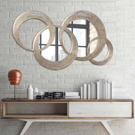 Spiegel in MDF zilveren bladafwerking op verwerking ballmateriaal