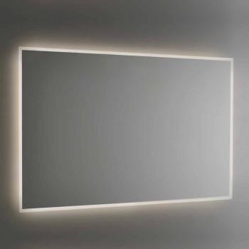 Badkamerspiegel met achtergrondverlichting en gezandstraald frame Made in Italy - Floriana