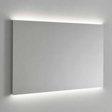 Wandspiegel met LED-achtergrondverlichting, stalen frame Made in Italy - Tundra