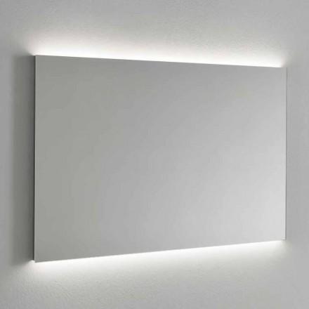 Wandspiegel met LED-achtergrondverlichting, stalen frame Made in Italy - Tundra
