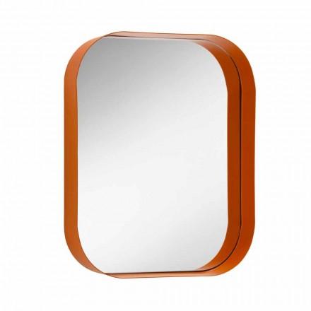 Afgeronde rechthoekige spiegel, metalen frame Made in Italy - Alexandra