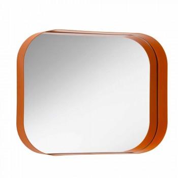 Afgeronde rechthoekige spiegel met metalen frame, diverse kleuren - Alexandra