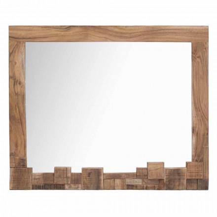 Rechthoekige moderne wandspiegel met acacia houten frame - Eloise