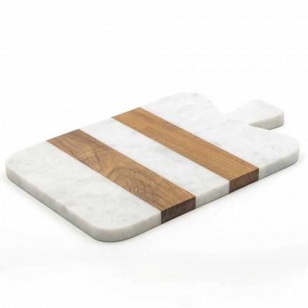 Wit Carrara marmer en hout gemaakt in Italië Design snijplank - Evea