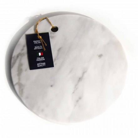 Ronde snijplank van wit Carrara-marmer, gemaakt in Italië - Masha