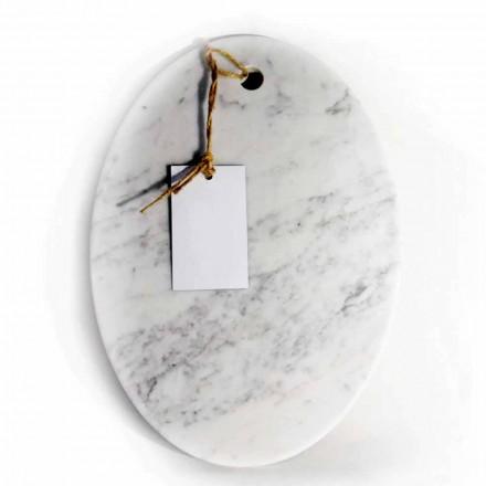 Moderne ovale snijplank in wit Carrara-marmer Made in Italy - Masha