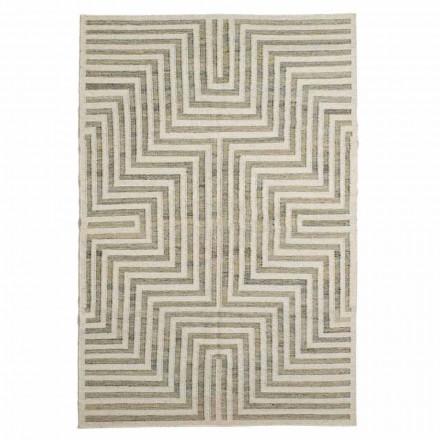 Modern tapijt van wol en katoen met geometrisch patroon - Carioca