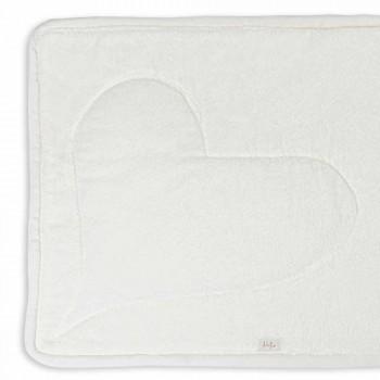 Badmat van natuurlijk wit katoen met hartdecoratie - Sullivan
