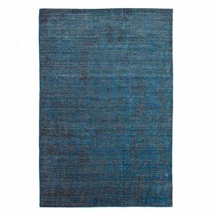 Woonkamer tapijt gemaakt op handmatig weefgetouw in viscosewol en katoen - Cristel