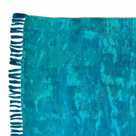Etnische gekleurde rechthoekige stoffen vloerkleed met kwastjes - Fibraù