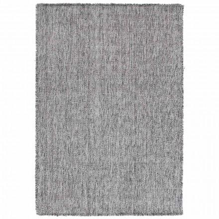 Modern design groot franjes tapijt in zwart of crème wol - Jacqueline