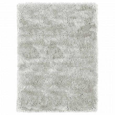 Modern design groot langharig tapijt in gekleurde zijde en katoen - Etesia