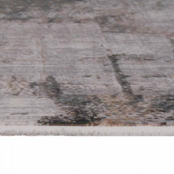 Grijs-beige antislipdeken in viscose en acryl met design - president