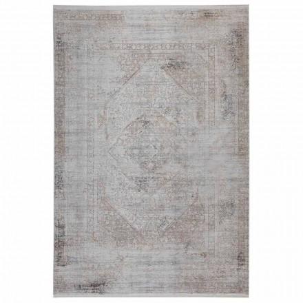 Antislip tapijt in grijsbeige acryl en viscose met tekening - President