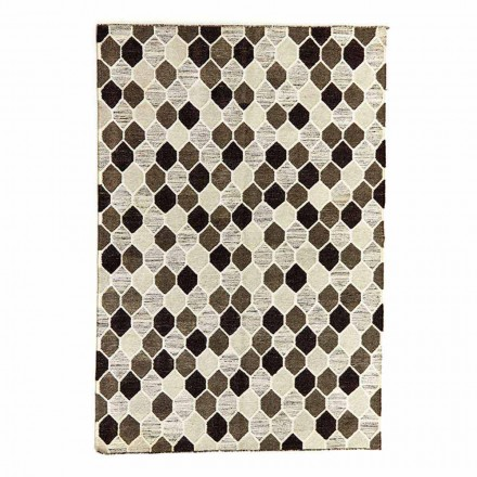 Modern designtapijt met geometrisch patroon van wol en katoen - Tapioca