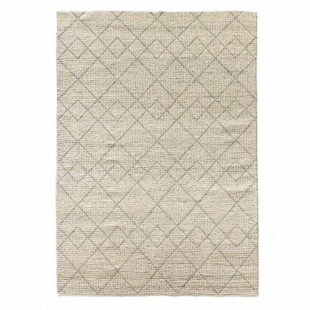 Modern woonkamertapijt met de hand geweven in geometrisch ontwerp van wol - Geome