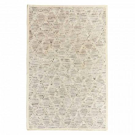 Modern tapijt in wol en katoen ivoor met fantasie voor woonkamer - Peppo
