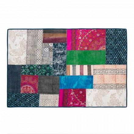 Rechthoekig tapijt in blauw Kelim-katoen of gekleurd patchwork - vezel