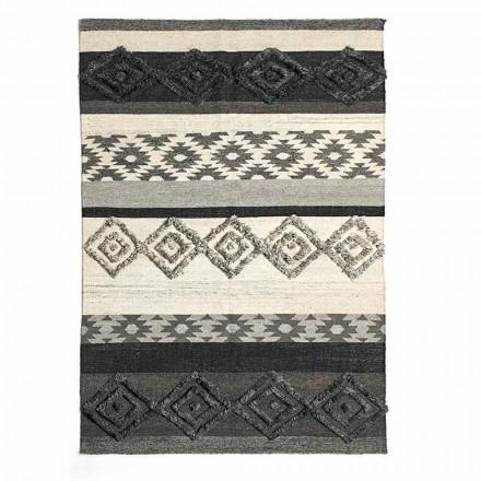 Rechthoekig vloerkleed van wol, katoen en viscose voor moderne woonkamer - Zorro