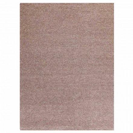 Modern design rechthoekig tapijt in zijde en bruin of crème katoen - Kuta