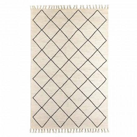 Modern woonkamertapijt met geometrisch patroon van wol en katoen - Metria