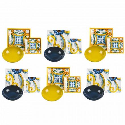 Elegante gekleurde gedekte tafel, porselein en steengoed 18 stuks - tegels