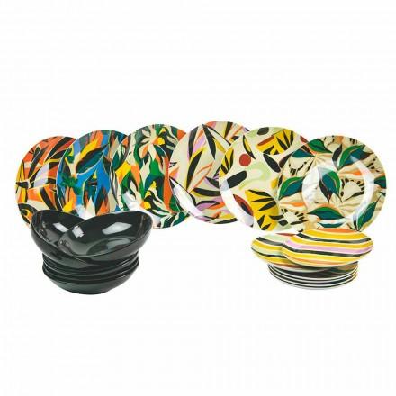 Gedekte tafelservies in porselein en gekleurd aardewerk 18 stuks - Tequila