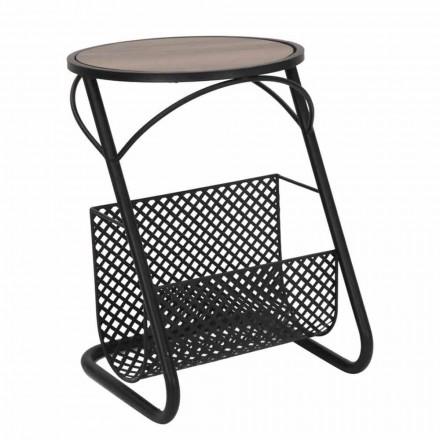 Moderne salontafel voor woonkamer Krantenrek in MDF en ijzer - Trevor