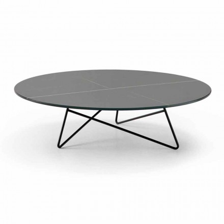 Ronde salontafel voor woonkamer in metaal en glas met luxe marmereffect - Magali