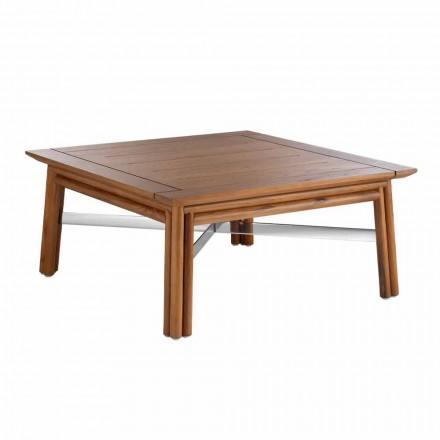 Lage vierkante salontafel voor buiten in natuurlijk hout of zwart design - Suzana