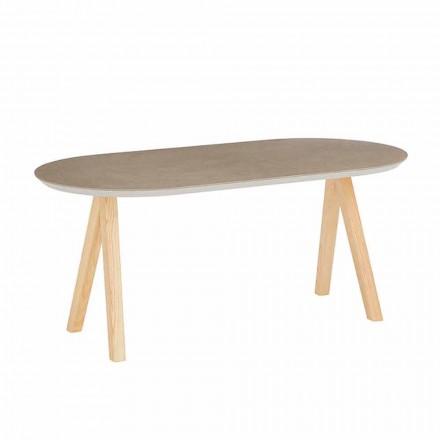 Salontafel in keramiek en natuurlijk hout Modern ovaal ontwerp - Amerigo