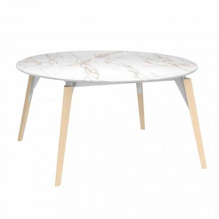 Ronde salontafel met marmereffect, 3 kleuren, 2 maten - Faz Wood van Vondom
