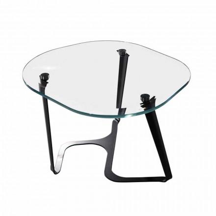 Handgemaakte salontafel van glas en staal gemaakt in Italië - Marbello