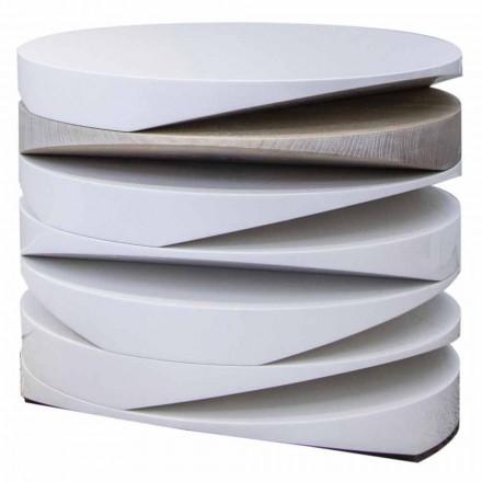 Salontafel van wit marmer met inzet van travertijn Made in Italy - Vita