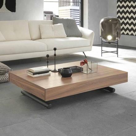 Moderne transformerende salontafel in hout en metaal Made in Italy - Fabio