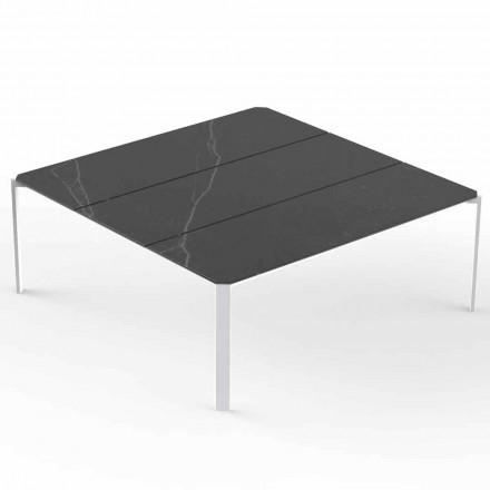 Vierkante tuintafel, blad met marmereffect - Tablet van Vondom