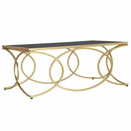 Rechthoekige salontafel in ijzer en design spiegel - vrolijkheid