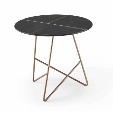 Ronde salontafel van metaal en luxe glas met marmereffect - Magali