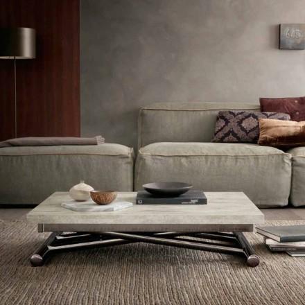 Moderne transformerende salontafel in hout en metaal Made in Italy - Gabri