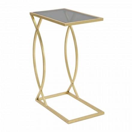 Modern design rechthoekige banktafel in ijzer en glas - Herbie