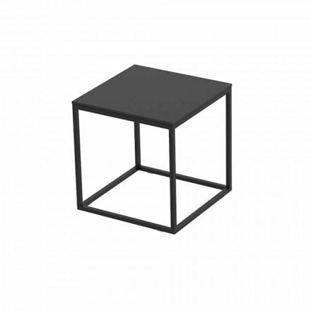 Buitenkoffietafel in aluminium en vierkant zwart laminaat - Suave van Vondom