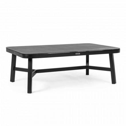Buitentafel in zwart aluminium met Homemotion - Morena glazen blad