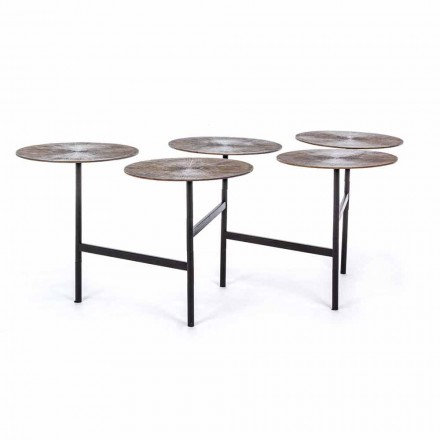 Homemotion salontafel met 5 ronde aluminium bladen - Pollino